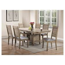 acme wallace dining table weathered blue washed ramona side dining chair set of 2 rustic oak and silver pu