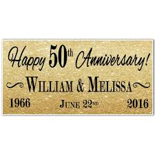 50th gold wedding anniversary banner personalized party backdrop
