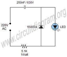 simple 220v mains indicator led circuit diagram eletronica