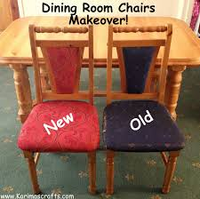 dining table chair reupholstering karima s crafts reupholstered dining room chairs tutorial and more