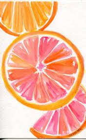 grapefruit watercolor painting original citrus art 4 x 6