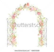 wedding arch leaves beautiful wedding arch flowers ranunculus leaves stock vector
