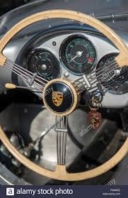 porsche dashboard steering wheel and dashboard of a vintage porsche 550 spyder