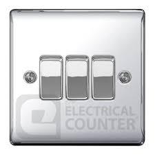 polished chrome triple light switch 3 gang 10amp 10ax bg nexus npc43