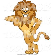vector illustration of a cartoon lion mascot leaning by toons4biz