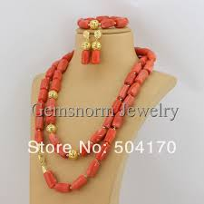 long orange necklace images Marvelous african jewelry set designer 51 quot inches long coral jpg