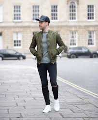 topshop green er jacket and black ripped skinny jeans mens