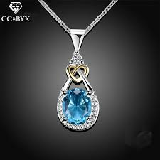 sterling silver wedding necklace images 925 sterling silver jewelry water drop necklace pendant blue jpg