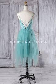 light blue tulle short v neck spaghetti strap casual bridesmaid