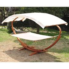outsunny 2 person wood arc outdoor hammock u0026 stand set with canopy
