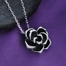 black rose pendant necklace images Black rose crystal necklace basically zen fine unique jpg