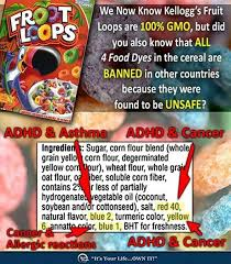 food dye in cereal such as fruit loops contributes to adhd and