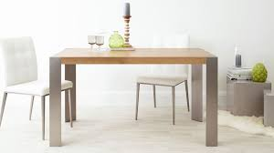 Oak Dining Table Uk Modern Oak Dining Table Brushed Steel Legs Seats 6