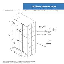 dreamline unidoor 46 47 in width frameless hinged shower door 3
