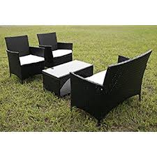 Gp Products Patio Furniture Amazon Com Merax 4 Piece Outdoor Patio Pe Rattan Wicker Garden