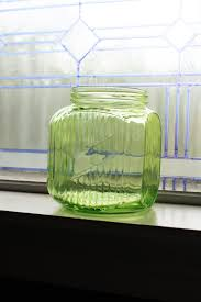 large green glass jar kitchen canister vintage 1930s cookie jar