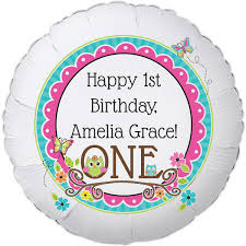 owl 1st birthday large personalized balloon