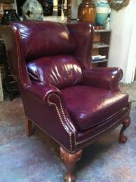 Cowhide Chairs And Ottomans Oxblood Full Grain Cowhide Wing Chair Hand Tacked Vintage