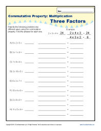 commutative property multiplication worksheets for 3rd grade