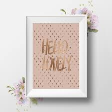 rose gold foil print hello lovely rose gold