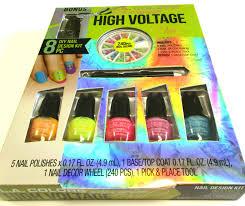 high voltage nail art decor kit neon polish metal shapes color