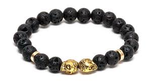 black bead skull bracelet images Matte black lava gold skull bracelet alpha accessories png