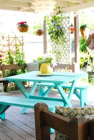 wooden picnic table colors cool stain turquoise backyard paradise