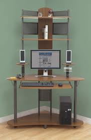 Corner Computer Tower Desk Arch Tower Pewter Teak Kitchen Dining