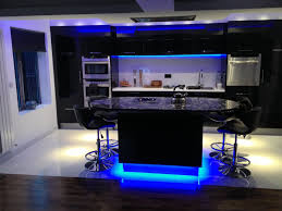 kitchen design ideas under cabinet and kitchen island blue led