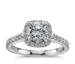 cushion ring cushion halo diamond engagement ring in 14k white gold 1 3 ct tw