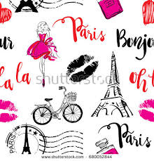 eiffel tower wrapping paper fashion seamless pattern bonjour pattern stock vector