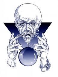 blue ink old wizard with crystal ball tattoo stencil u2013 truetattoos