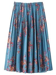 light blue pleated skirt floral printed elastic waist pleated skirt light blue skirts s zaful