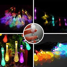 outdoor string lights rain solar string light 20ft 30 led rain drop waterproof outdoor string