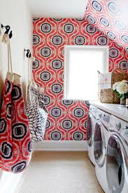 Laundry Room Decorating Ideas by Attic Laundry Room With Wallpaper And Flower Vase Laundry Room