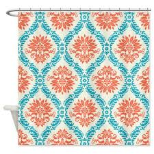 Shower Curtains Orange Turquoise And Orange Shower Curtain Home Design Plan