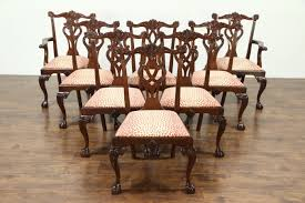set of 8 georgian chippendale carved mahogany vintage dining