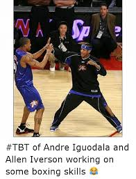 Allen Iverson Meme - tbt of andre iguodala and allen iverson working on some boxing