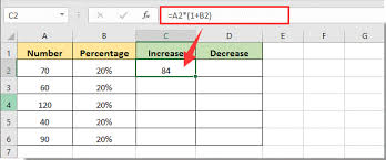 how to increase or decrease cell number value by percentage in excel