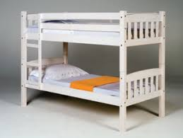 Small Single White Wash Wooden Bunk Bed Frame Bunk Beds - Small single bunk beds
