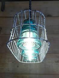 Primitive Light Fixtures Wire Basket Milk Crate Glass Insulator Pendant Light Fixture