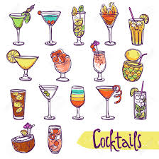 cocktail glasses cold summer party refreshment sketch set isolated
