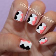 black white and bright pink geometric nail art design nails