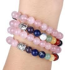 rose quartz bead bracelet images Mala bead 7 chakra rose quartz bracelet buddha spirit magic jpg