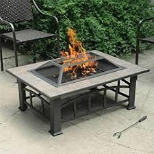 Firepit Top Axxonn Outdoor Rectangular Ceramic Tile Top Pit