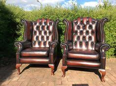 Leather Armchair Ebay Pair Of Queen Anne Chestnut Brown Leather Chesterfield Wing Back