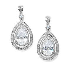 wedding earrings drop bridal pear shaped cz drop earrings lola