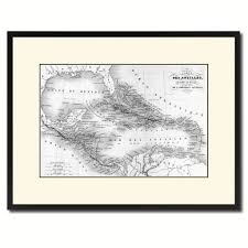 west indies caribbean vintage b u0026w map canvas print picture frame