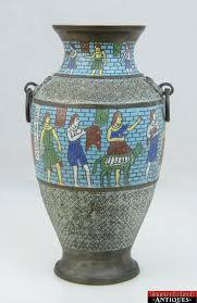 Large Mosaic Vase 1920s Large Chinese Egyptian Revival Cloisonne Enamel Art Brass