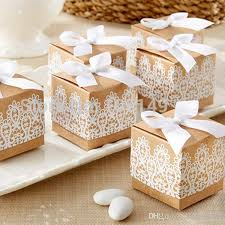 wedding gift shop square kraft paper gift boxes white lace antique candy box bow tie
